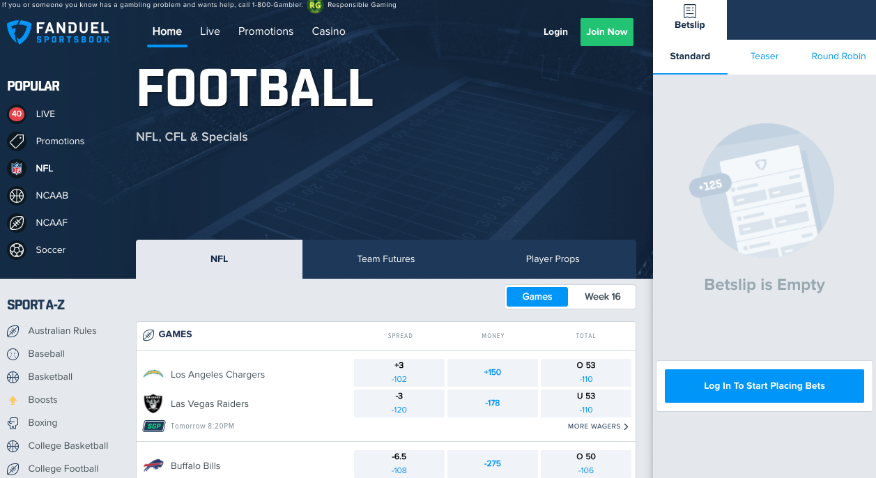 FanDuel IL Football Odds