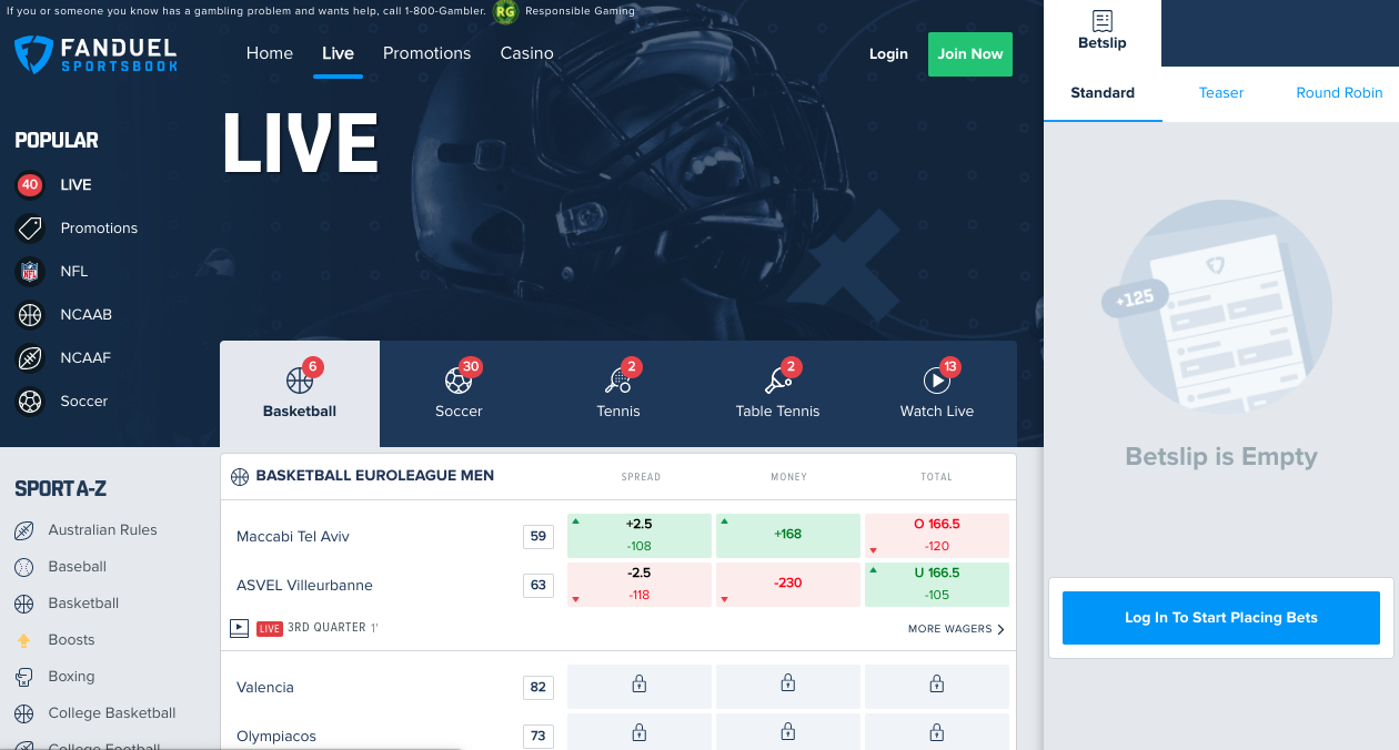FanDuel IL Live Betting Odds