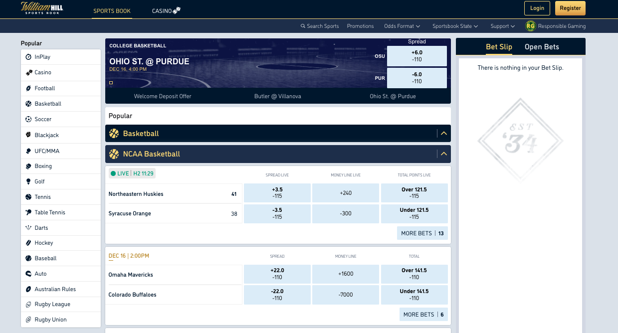 William Hill Lobby Page