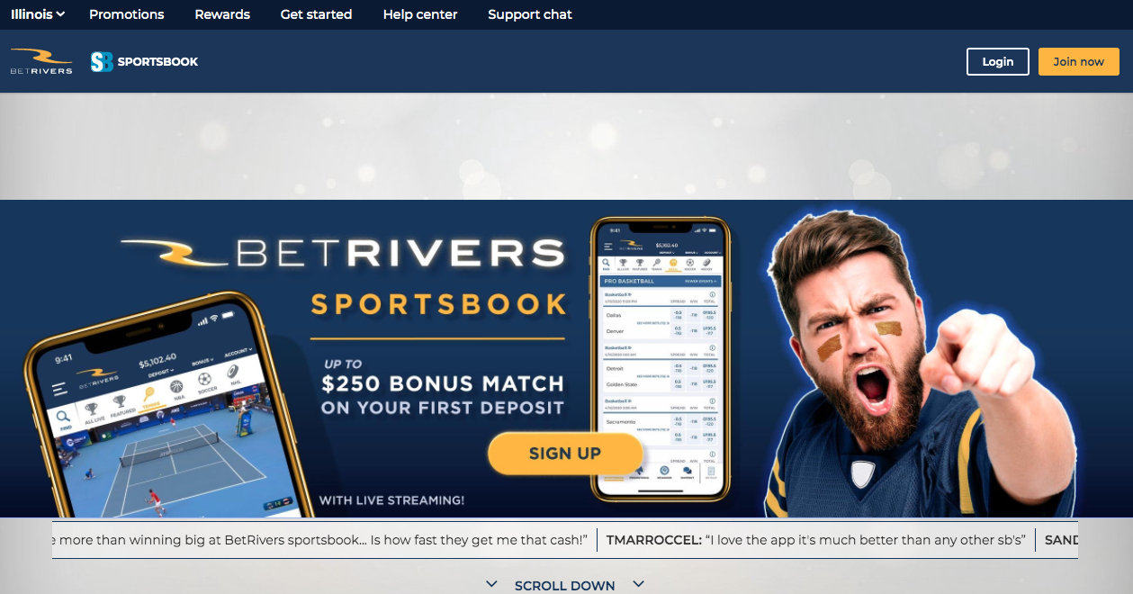 BetRivers Bonus IL Home Page